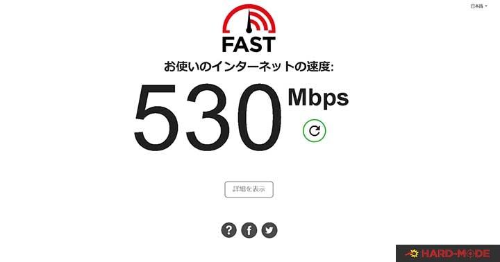 fast.comの回線速度