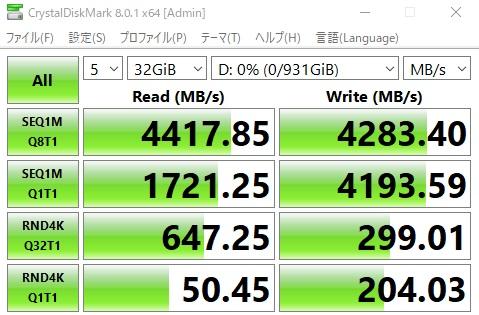 「FireCuda 520」 32gbベンチマーク